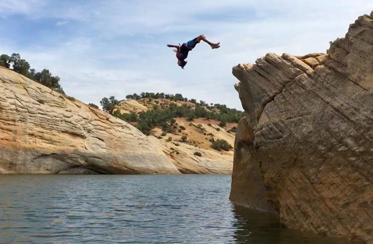 Cliff jumping in Vernal